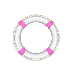 Life buoy in white and pink design with rope vector