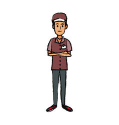man in uniform of delivery worker standing vector image