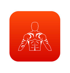 Muscular man with tattoo icon digital red vector