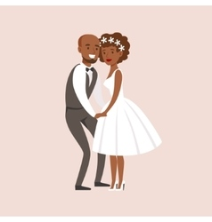 Newlyweds Posing With Bride Being Very Short At vector image