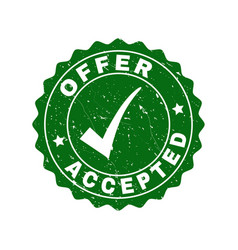 Offer accepted grunge stamp with tick vector