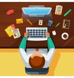 Office Work Place Accountant Flat Banner vector image