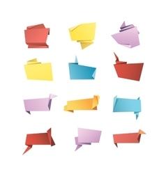 Origami Banner Speech Bubble Paper Set vector image