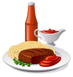pasta with cutlet vector image