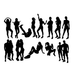 People activity silhouettes vector