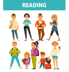 People reading books young and adults flat vector