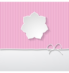 Pink striped background with a frame vector