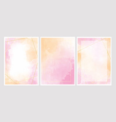 pink watercolor wash splash with golden frame 5x7 vector image