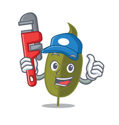 Plumber bay leaf mascot cartoon vector