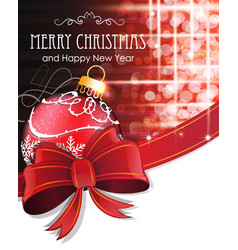 red christmas ball with bow and ribbon vector image
