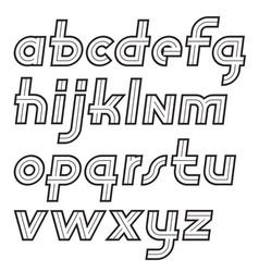 Retro 70s lower case english alphabet letters vector