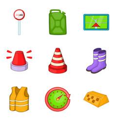 road repair icons set cartoon style vector image