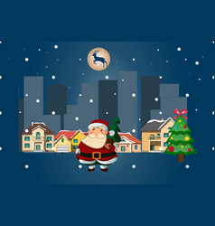 santa claus on a night city vector image