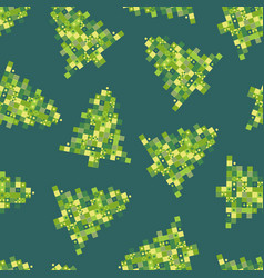 seamless pattern pixel art christmas tree on vector image