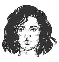Serious female face with a short haircut sketch vector