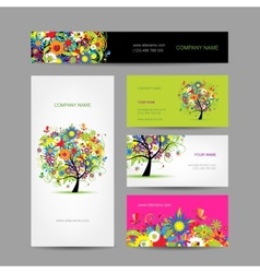 Set of cards floral tree for your design vector