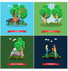 set of love posters in flat style vector image