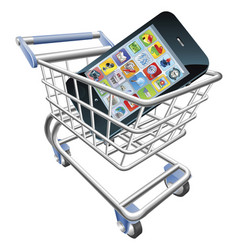 smart phone shopping cart concept vector image