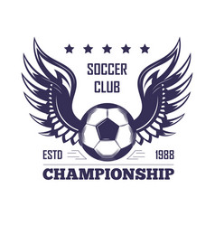 Soccer club championship promotion monochrome vector