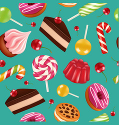 sweets seamless pattern candy cupcake holiday vector image