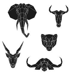 The black geometric heads elephant blue vector