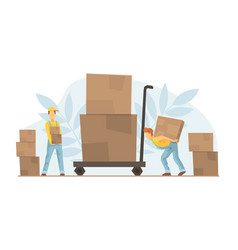 Tiny warehouse workers loading huge boxes on cart vector