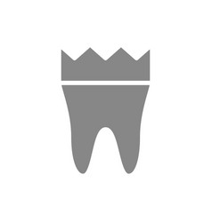tooth with crown gray icon dental crown symbol vector image