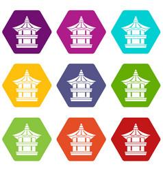 traditional korean pagoda icon set color vector image