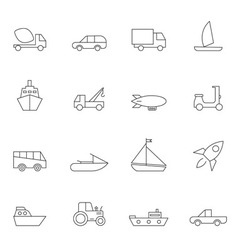 Transport icon set outline vector