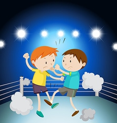 Two boys fighting on the ring vector