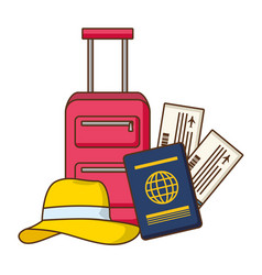 vacations suitcase passport tickets hat vector image