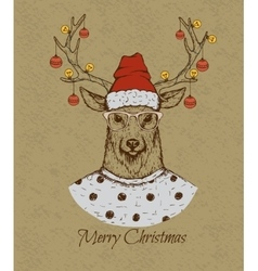 Vintage greeting card with deer vector