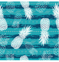 Vintage grunge pineapples and stripes vector
