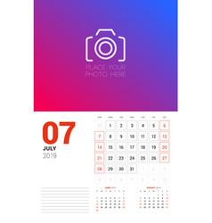 Wall calendar planner template for july 2019 week vector