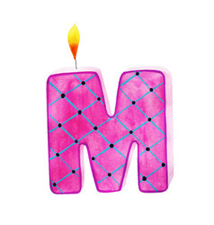 Watercolor happy birthday letter m candle vector