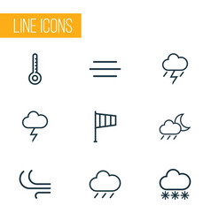 Weather outlines set collection of breeze vector