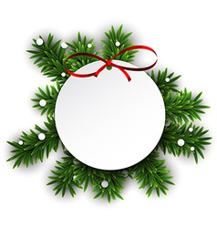 White round paper christmas card vector image