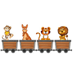 wild animals in mining carts vector image