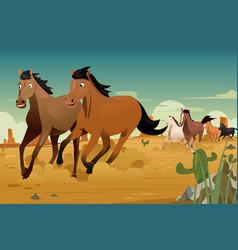wild horses running on the desert vector image