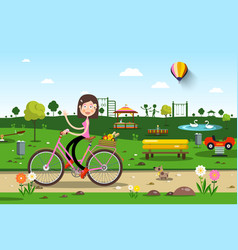 woman on bicycle in city prak with playground on vector image