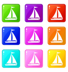 Yacht icons 9 set vector