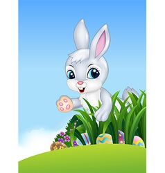 Cute Easter bunny looking for colorful Easter eggs vector image vector image