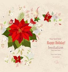 lovely christmas poinsettia arrangement on grunge vector image
