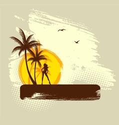 Palms girl banner grunge vector
