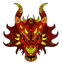 patterned dragon head colored doodle dragon vector image vector image