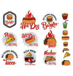 set of hand drawn fast food emblems pizza hot dog vector image