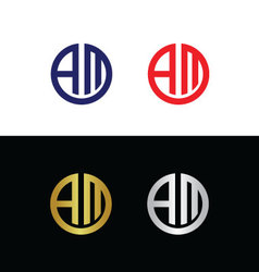 Initials with letter A and letter M vector image vector image