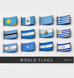 set of flag labels of all countries vector image vector image