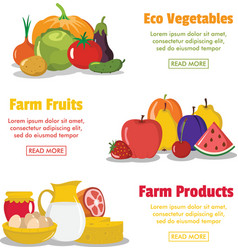 three flat farm product banners vector image vector image