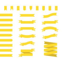 yellow ribbons set ribbon banners flat vector image vector image